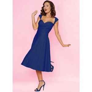 Bettie Page On Holiday Navy Blue Pin Up MIDI Dress